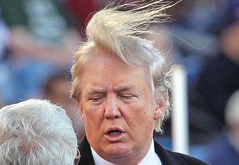 Donald Trump's hair flaps in the wind